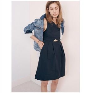Madewell cut out dress, navy with pockets
